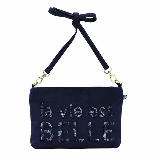 POCHETTE BANDOULIERE LA VIE EST BELLE MARINE - Shacof