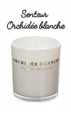 BOUGIE LAQUEE 7X8CM Orchidée Blanche