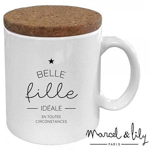 """MUG AVEC SON COUVERCLE EN LIÈGE """"BELLE FILLE IDÉALE"""" Marcel & Lily"""