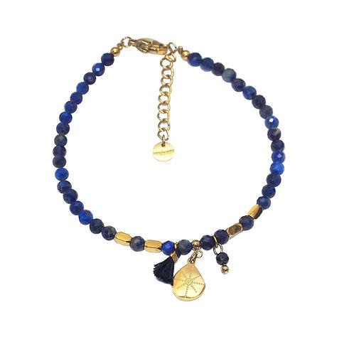 Bracelet doré perles en lapis lazuli- Ikita