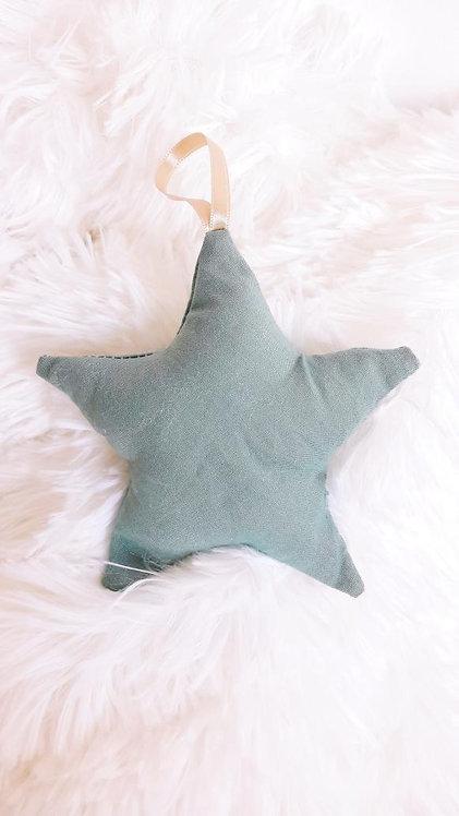Etoile en tissu vert personnalisable- Maretclo