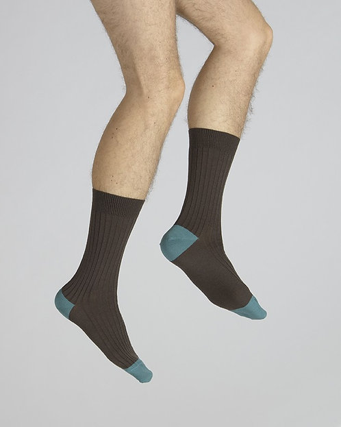 Chaussettes en laine et coton chocolat  bleu norvège-Berthe aux grands pieds