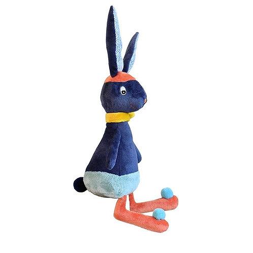 Doudou gabin lapin bleu nuit - EBULOBO