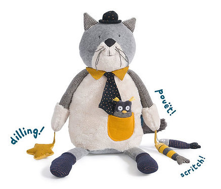 Moulin Roty Peluche Chat Fernand Les Moustaches - 75 cm- Moulin Roty
