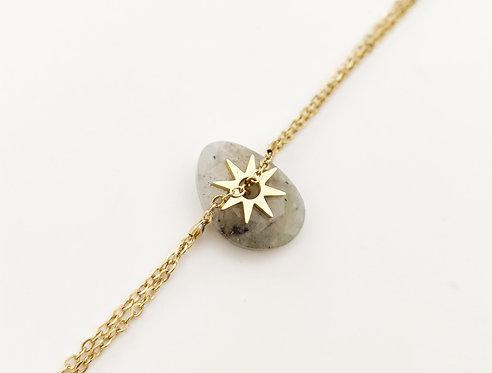 Bracelet pendentif en labradorite clair sur chaîne dorée - Ikita