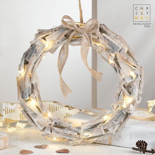 Guirlande de plage en bois avec nœud en tissu et lumières led à piles