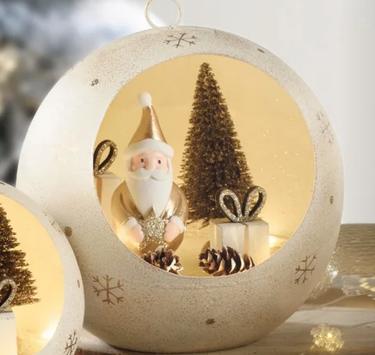 Boule de père Noël en métal couleur or avec lumières led à piles -