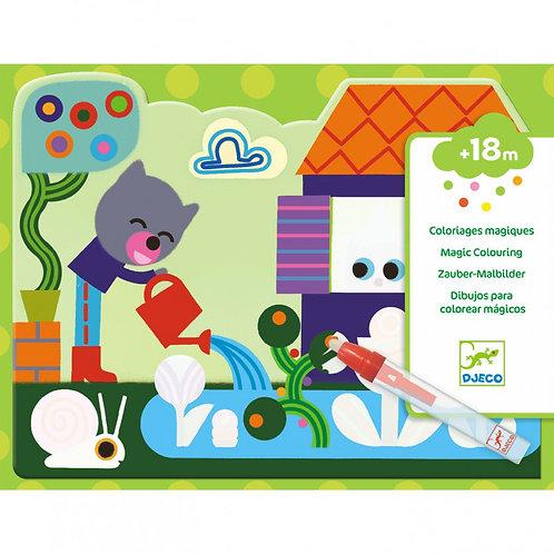 """Coloriages magiques à l'eau """"Caché dans le jardin"""" DJECO"""