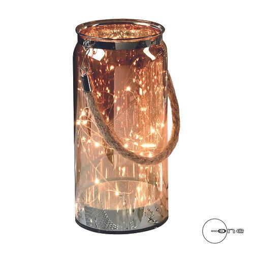 Lanterne en verre avec 10 lumières LED à piles - Grand