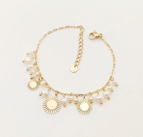 Bracelet avec perles d'eau douce et soleils - Ikita