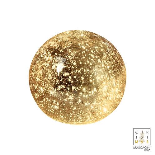 Boule de verre craquelée dorée avec 15 lumières à piles