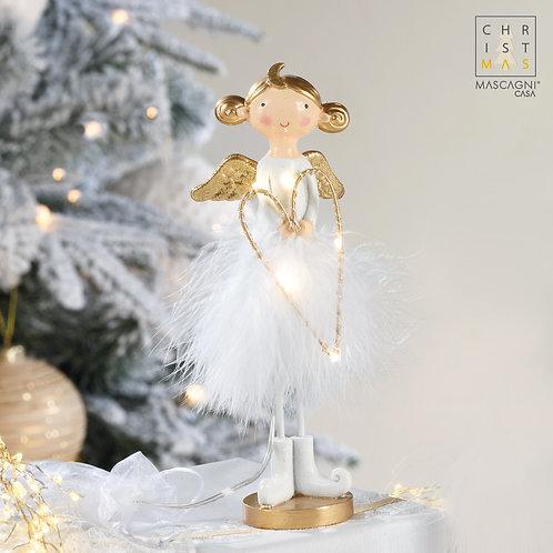 Ange en résine avec lumières LED à piles - 7x5x19,5