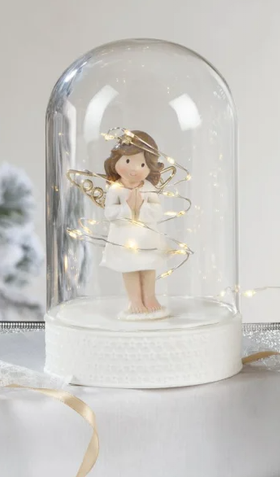 Dôme ange en résine avec éclairage LED à piles