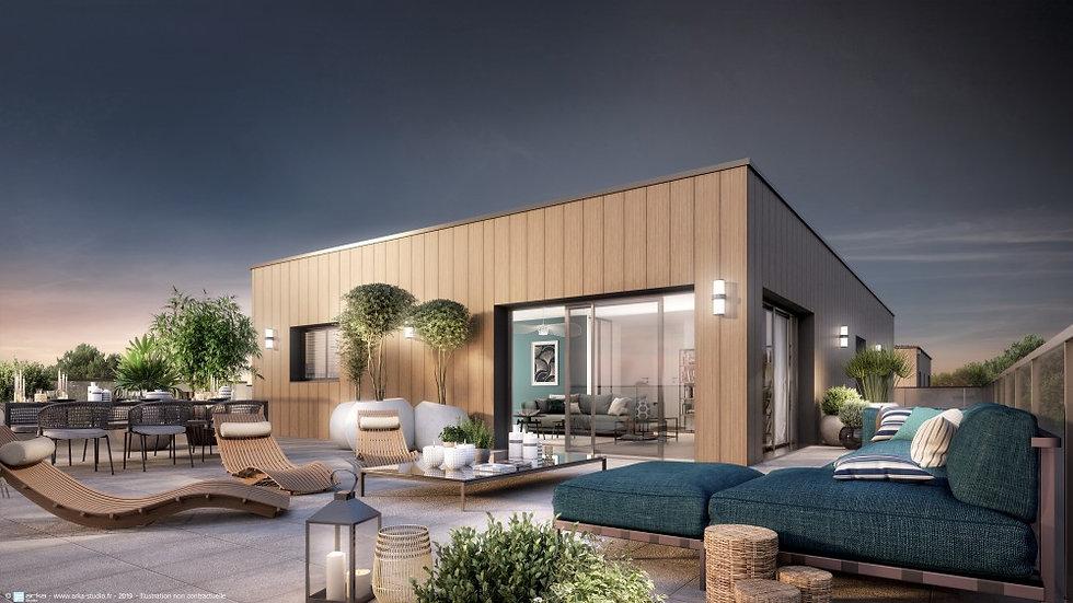 Pornichet : Magnifique appartement en roof top , terrasse de 146m2