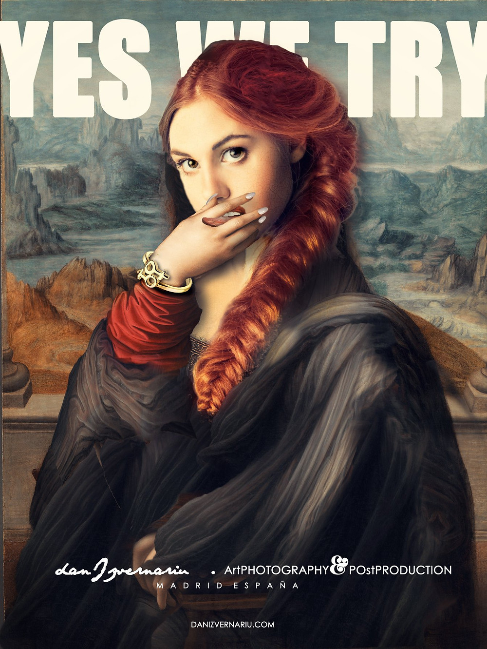 """YES WE CAN"" prank Gioconda by Dan Izvernariu, Madrid, España 2019"