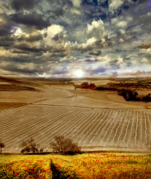Spanish landscape paisage. Creative Photoshop by Dan Izvernariu, Madrid, España Aug. 2013