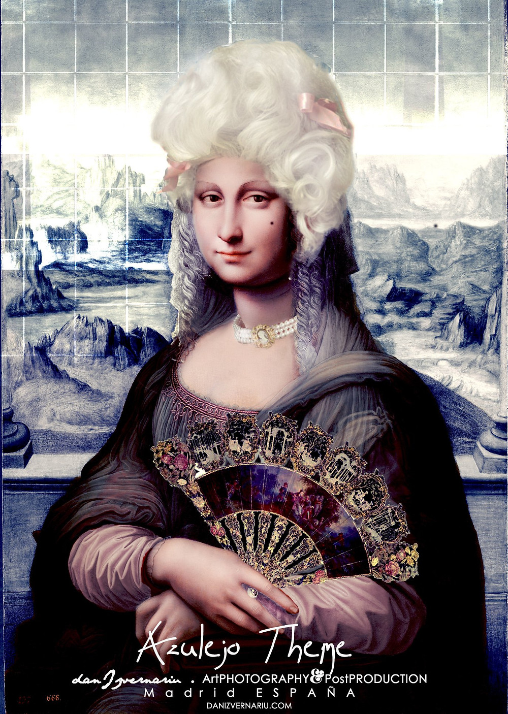 Gioconda Azulejo theme portrait by Dan Izvernariu, Madrid, España 2019