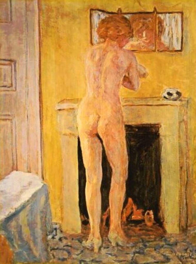Post Modernism ,Jean Pierre Bonnard , Nude front of cheminee ,paintings