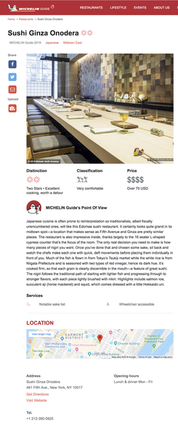 Michelin Guide 2019 review page