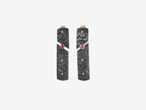 Damascus Post Earrings with Garnets