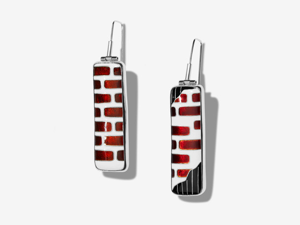 Cloisonné Red Brick Drop Earrings