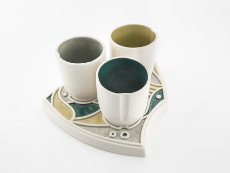 Porcelain Cup & Platter Set