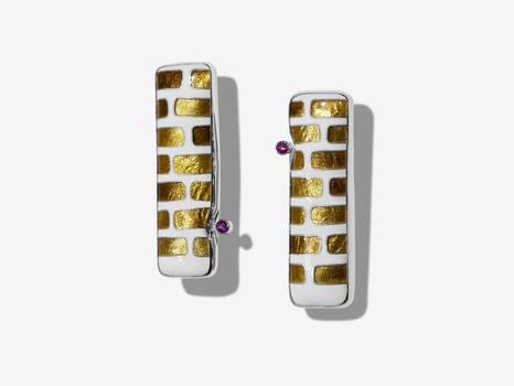 Cloisonné Gold Brick Earrings