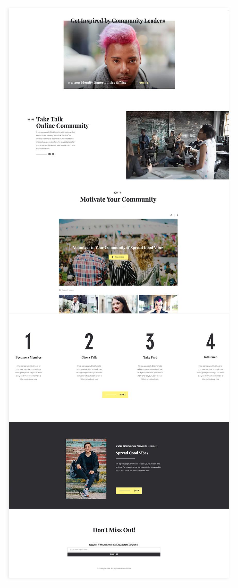 Nonprofit website template for community talks series