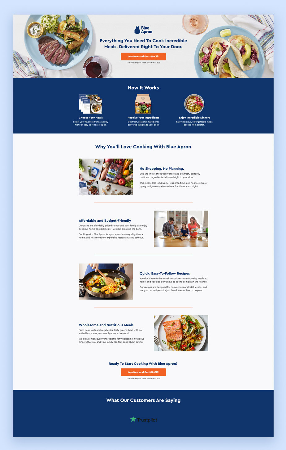 Landing page example by Blue Apron