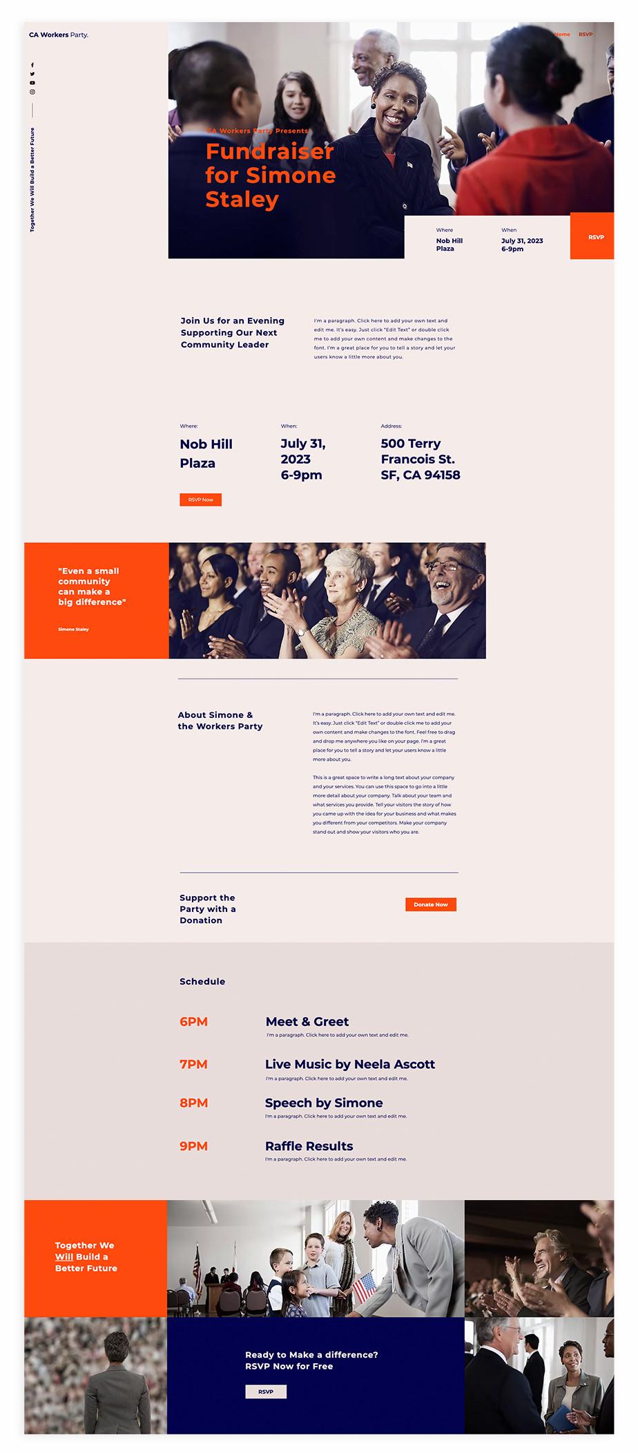 Nonprofit website template for political fundraiser