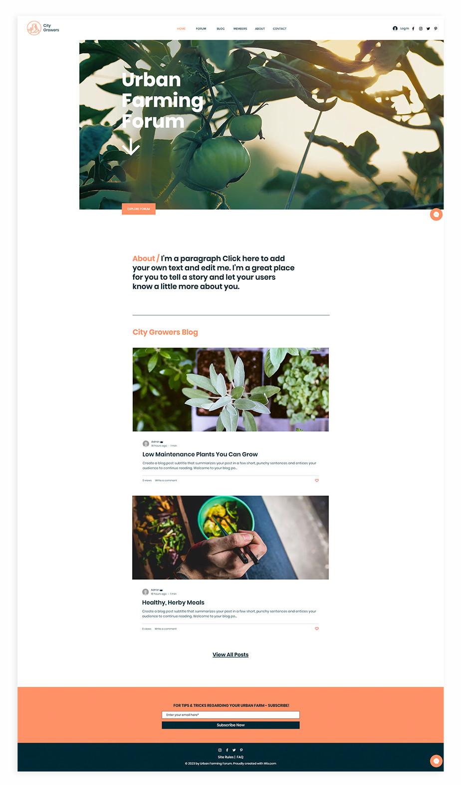 Nonprofit website template for urban farming blog & forum