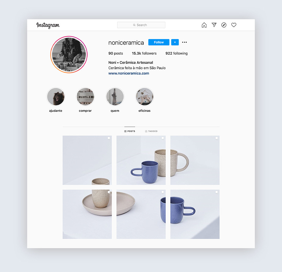 Instagram tips for designers - example by Noni Ceramica