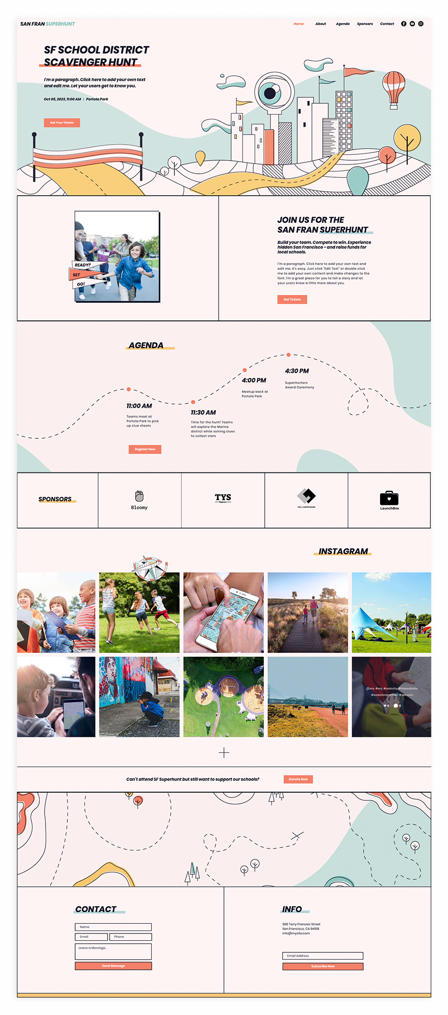 Nonprofit website template for charity scavenger hunt