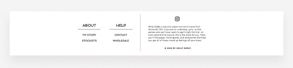Website footer example by Holly Oddly