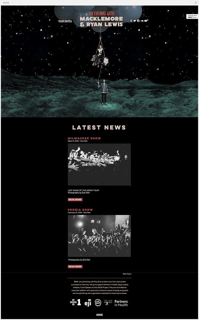 マックルモア & ライアン・ルイスのライブツアーサイト