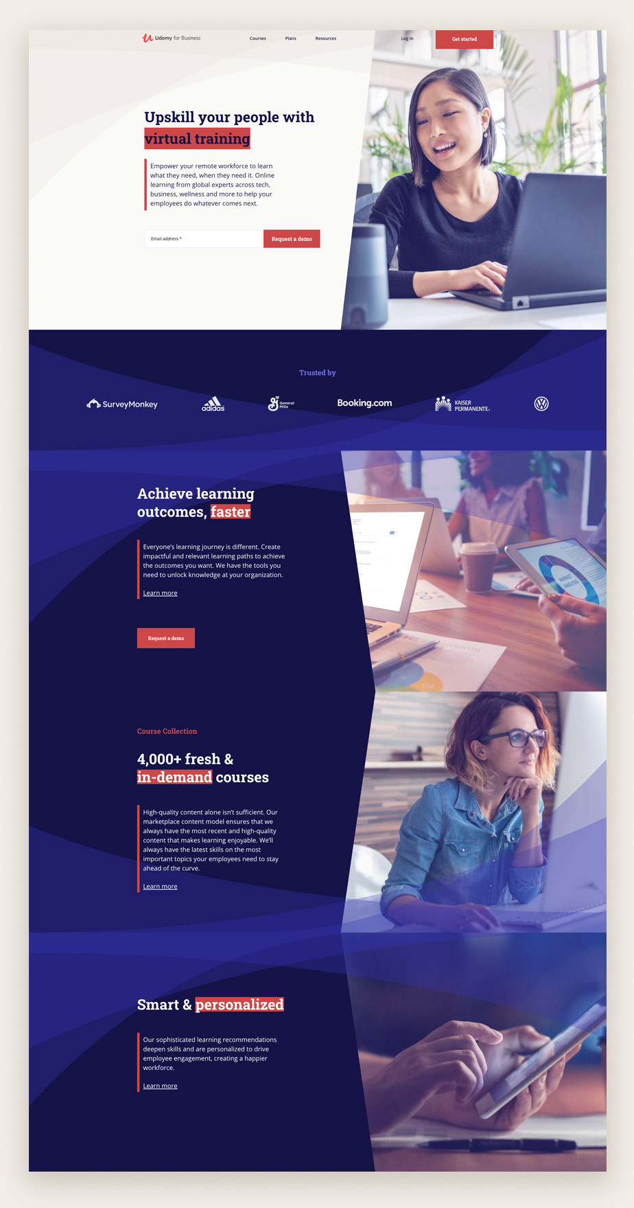 Landing page example by Udemy