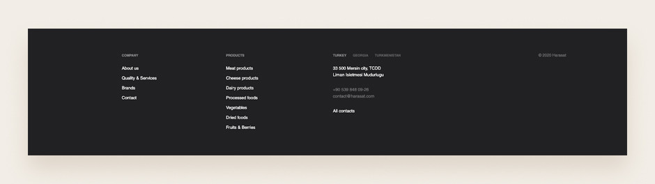 Website footer example by Harasat
