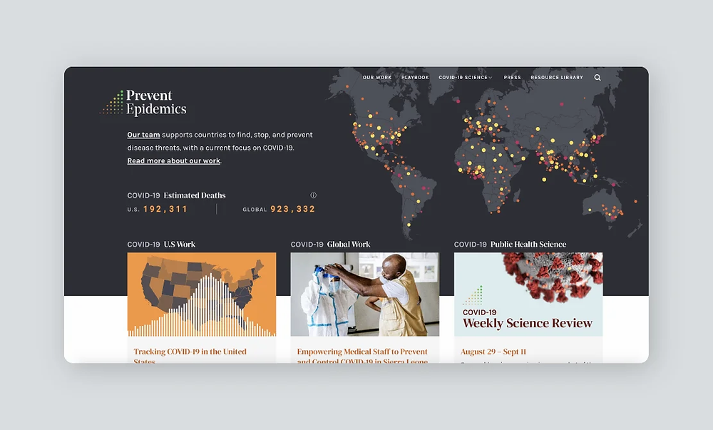 Screenshot of the Prevent Epidemics website
