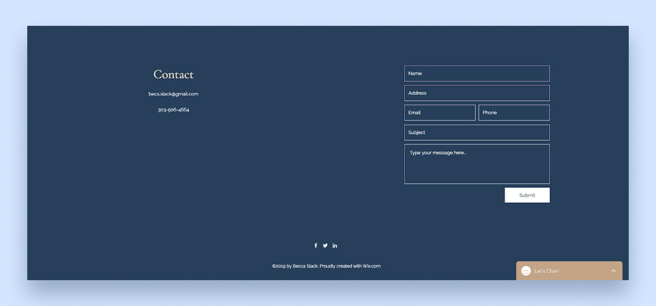 Website footer example by Becca Slack