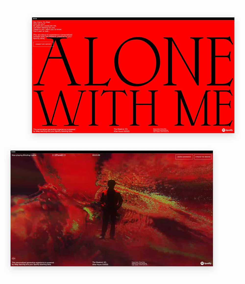 Best web design of 2020: Alone With Me by the Weeknd with Spotify