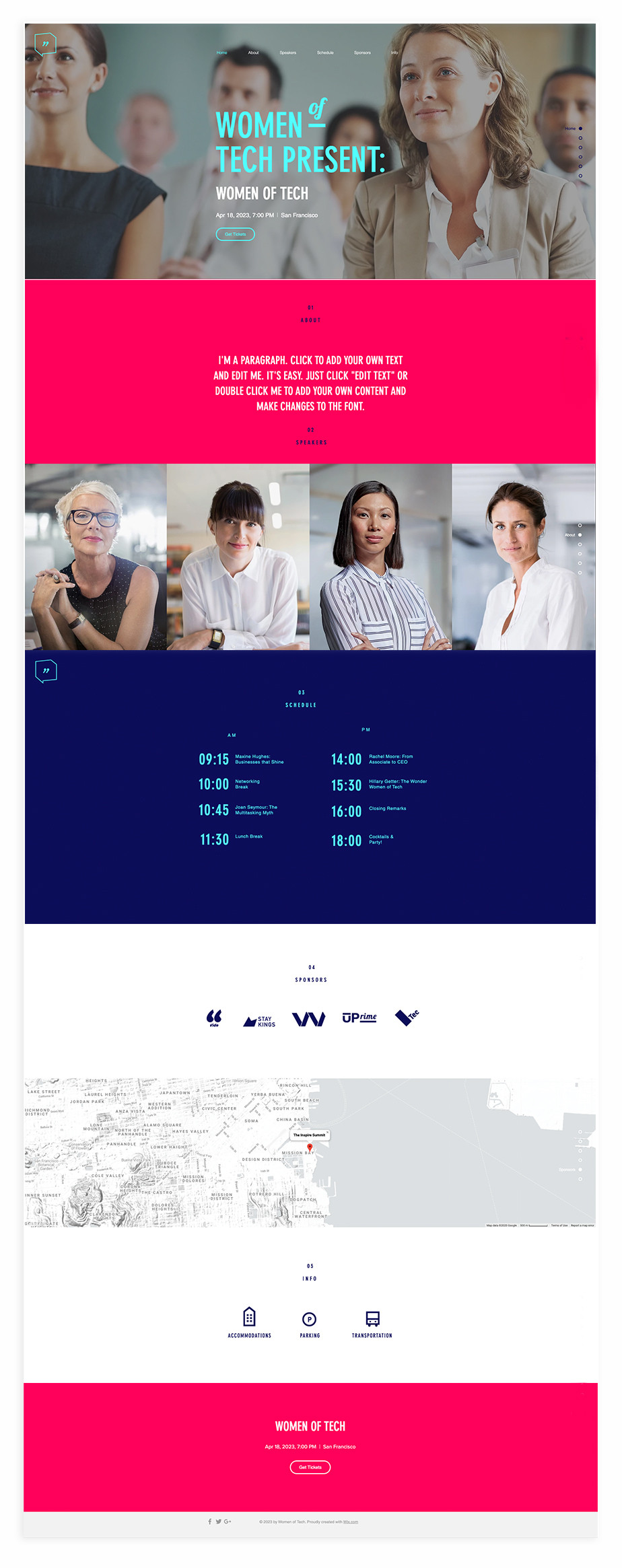 Nonprofit website template for women's conference