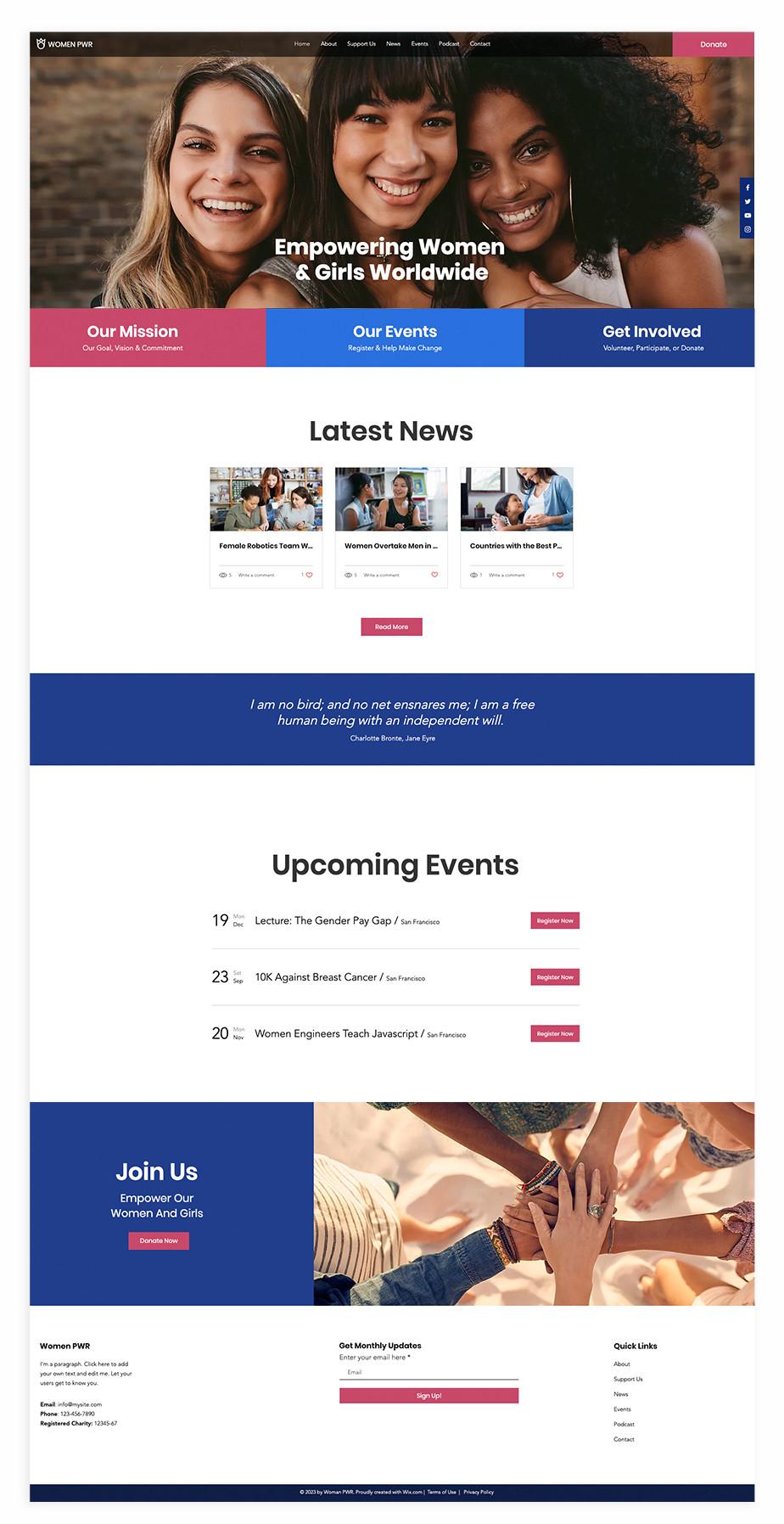 Nonprofit website template for women empowerment NGO
