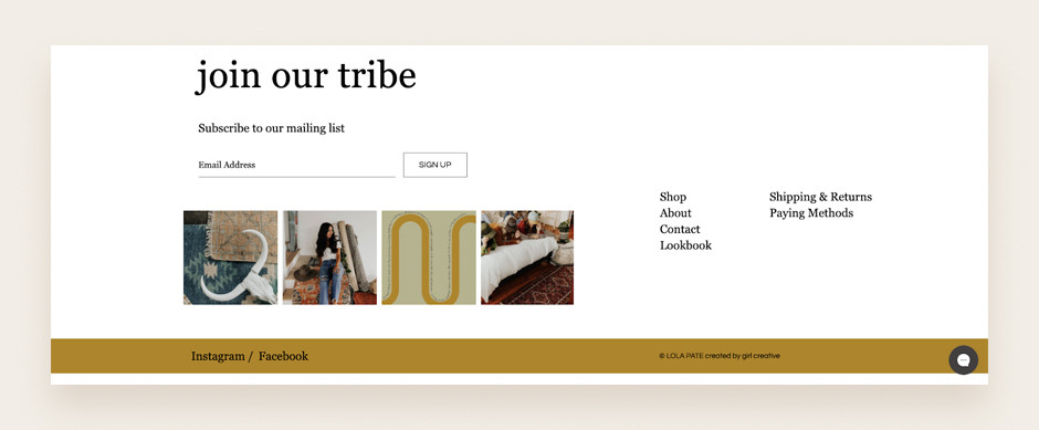 Website footer example by Lola Pate