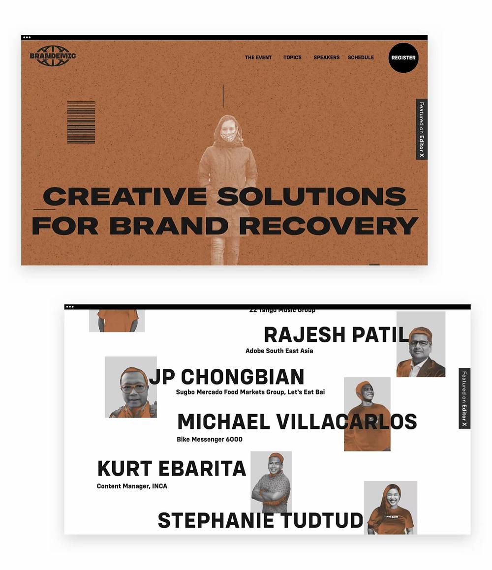 Best web design of 2020: Brandemic by White Brick Creative Studio built on Editor X