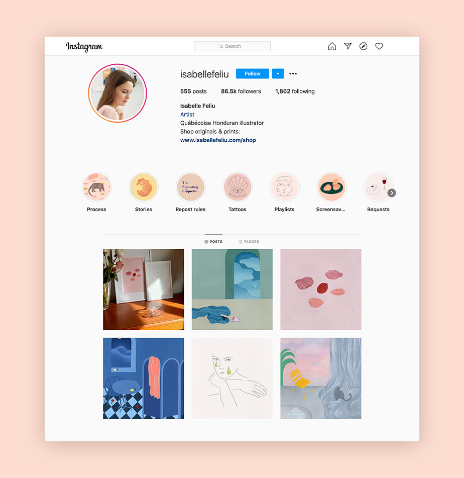Instagram tips for designers - example by Isabelle Feliu