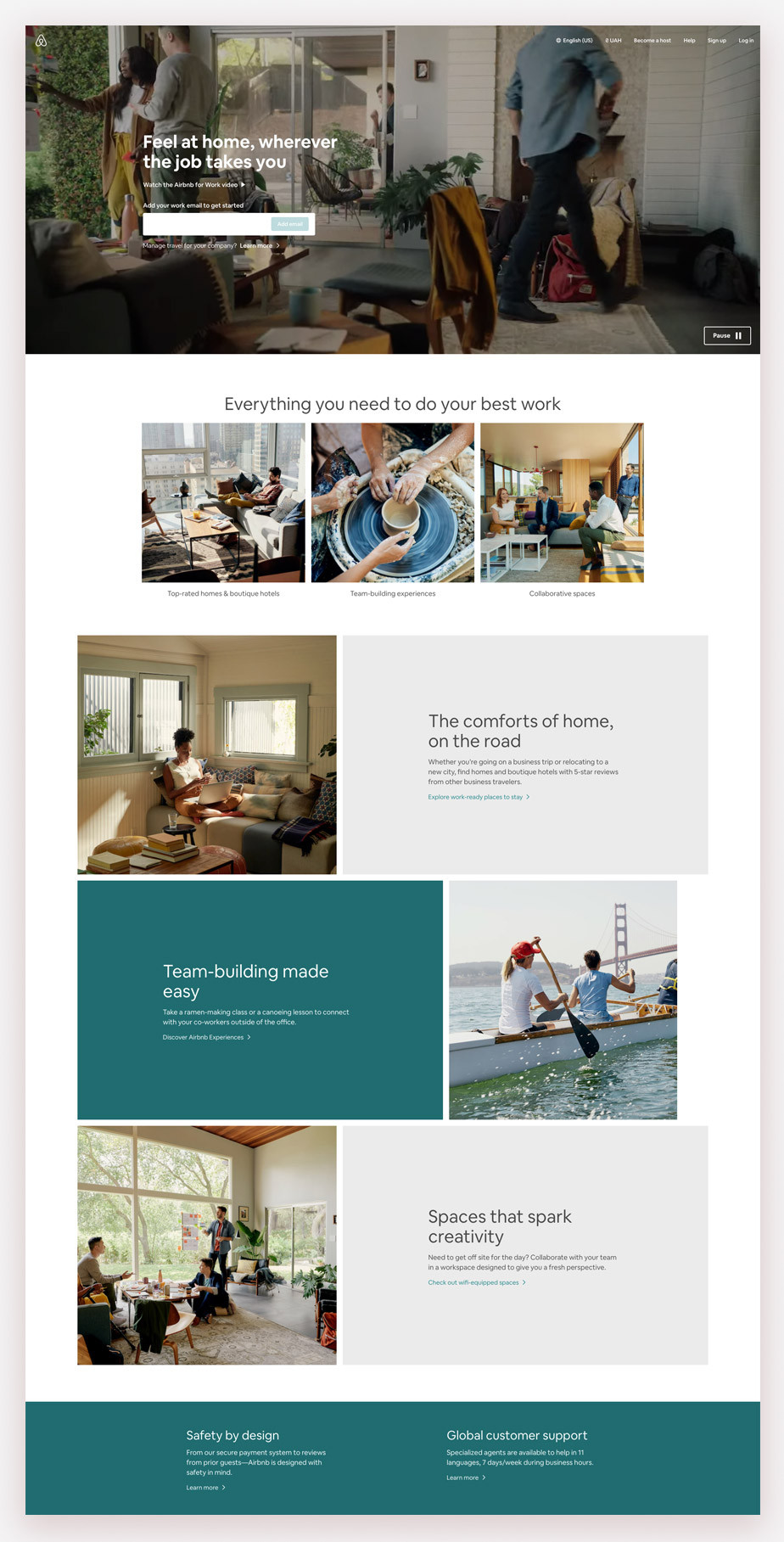 Landing page example by Airbnb