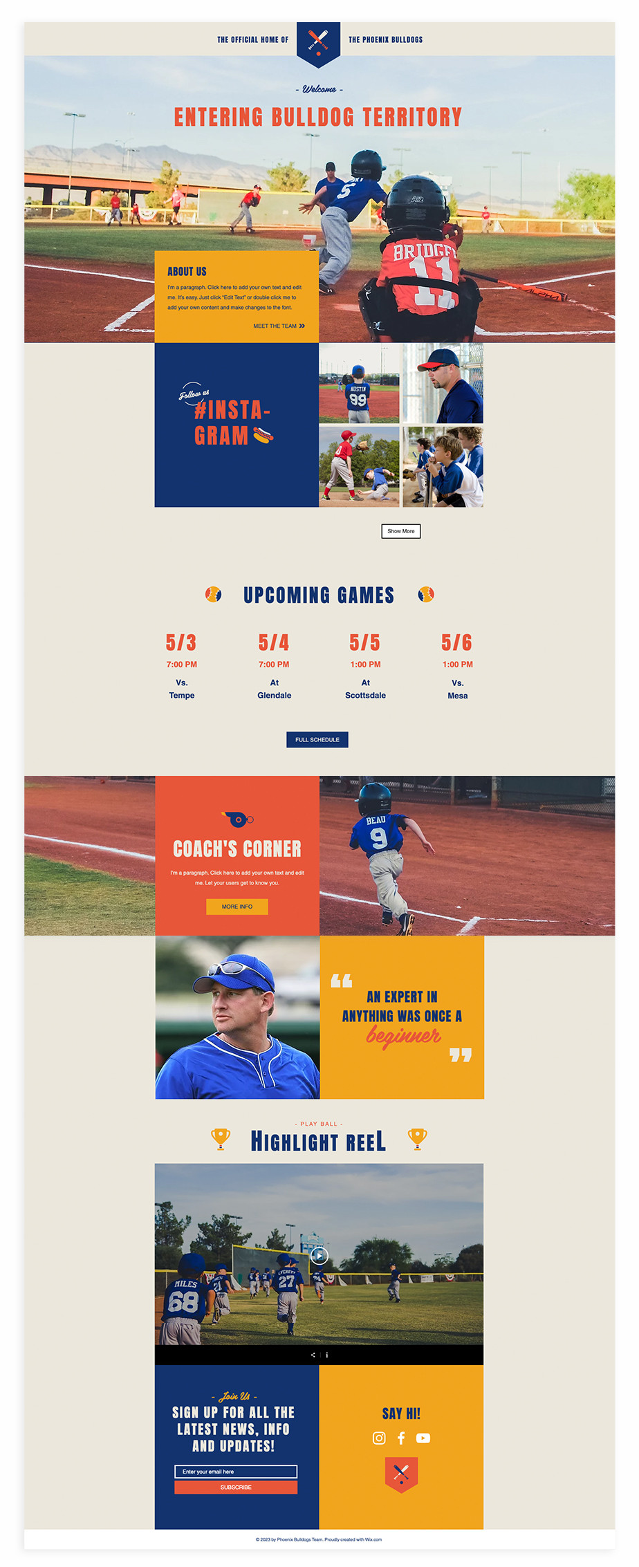 Nonprofit website template for youth baseball team