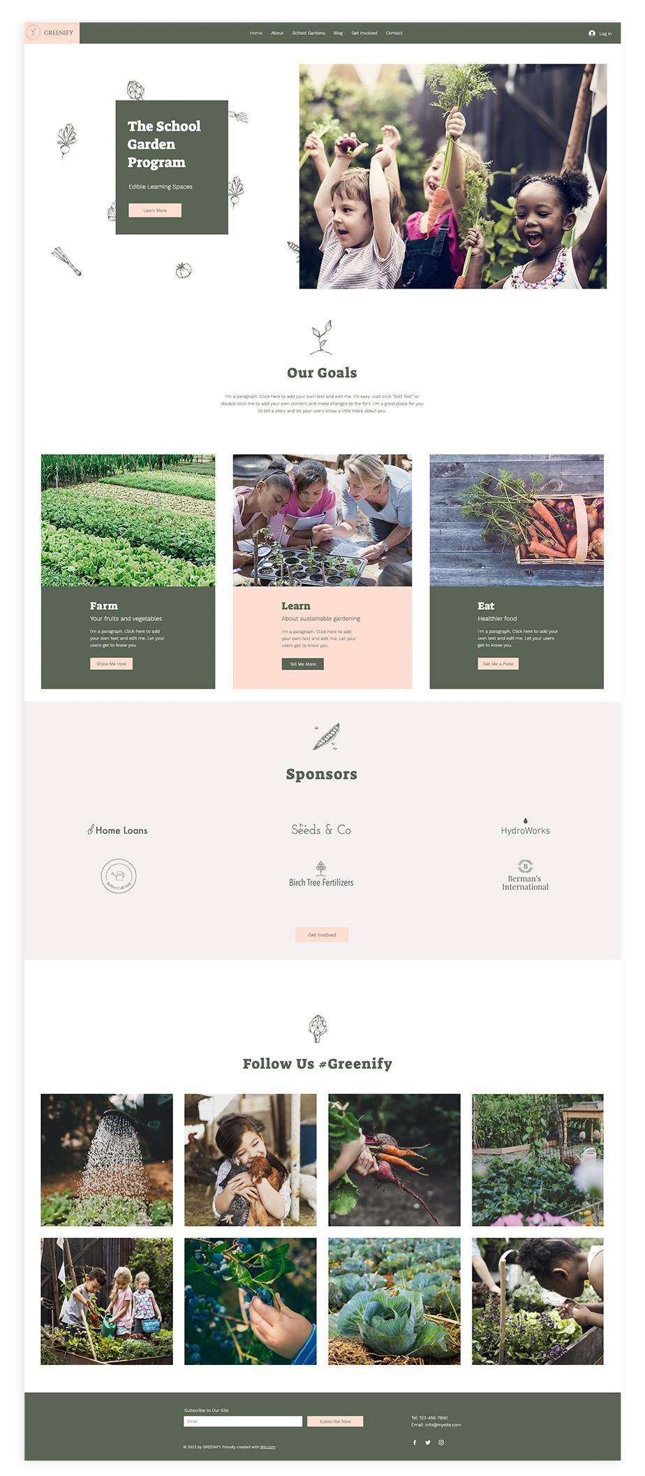 Nonprofit website template for school gardening program
