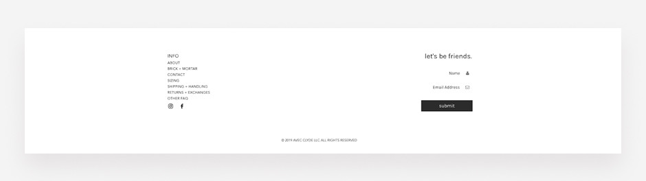 Website footer example by Avec Clyde