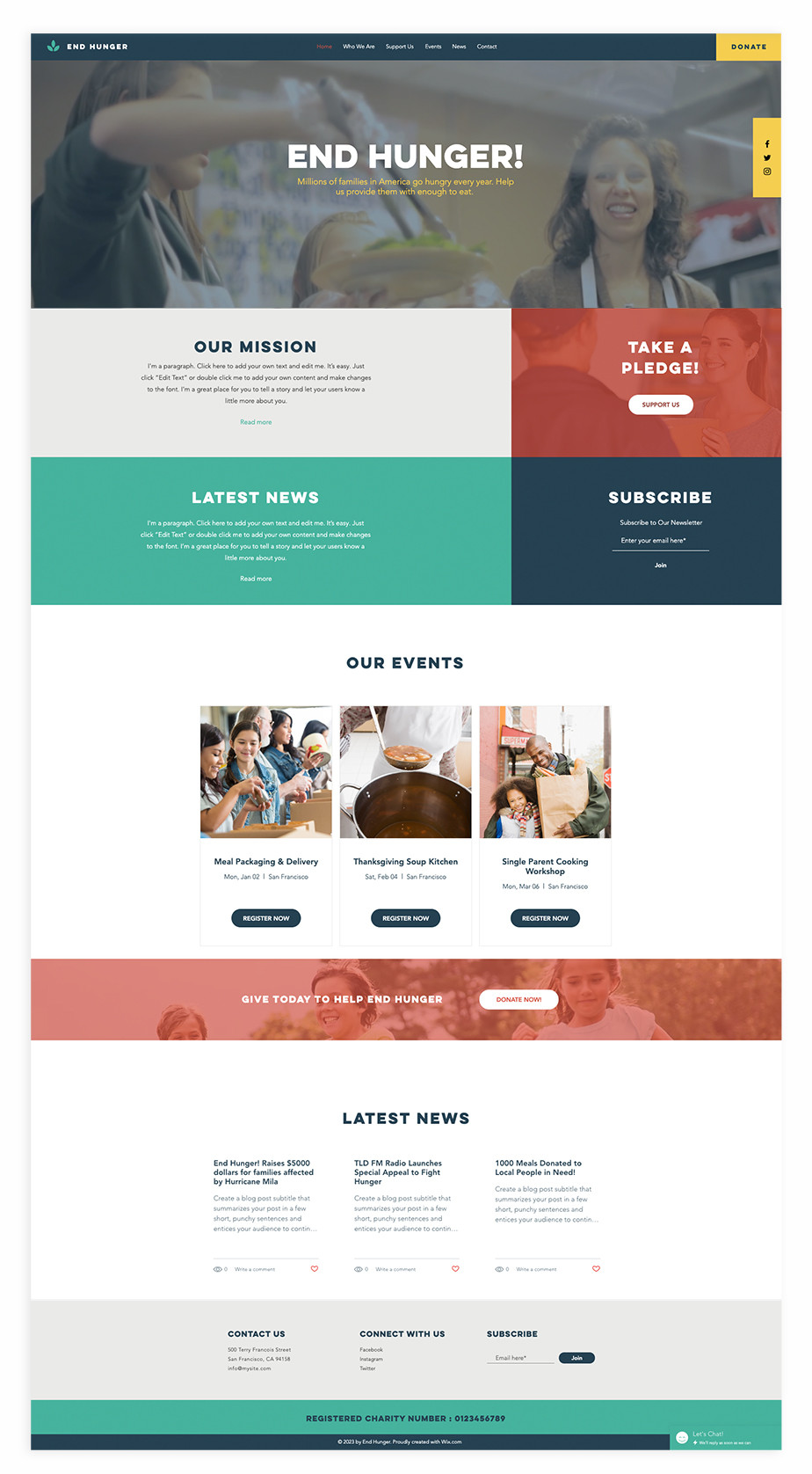Nonprofit website template for food charity